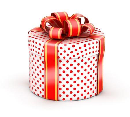 Afgeronde cilindrische geschenk met rode linten en rode stip textuur papier