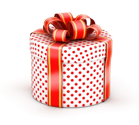 Rounded cylindrical gift  with red ribbons and red dot texture paper photo