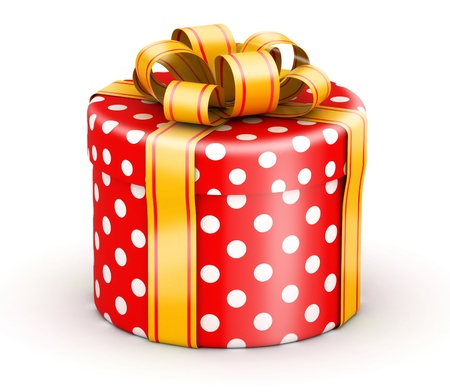 doted: Rounded cylinder red doted gift box with gold ribbons