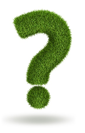 population growth: Question mark - natural 3d isolated photo realistic grass Stock Photo