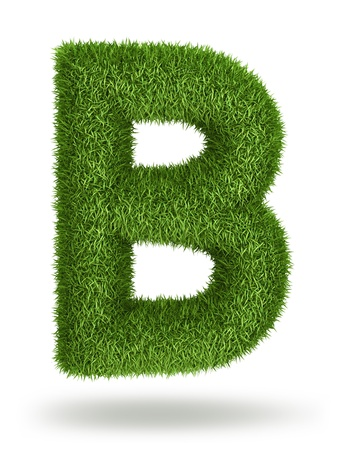 upper: Natural 3d isolated photo realistic grass letter B