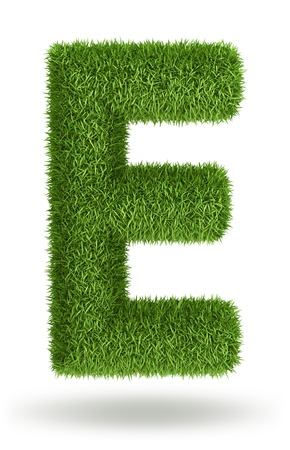 e pretty: Natural 3d isolated photo realistic grass letter E Stock Photo