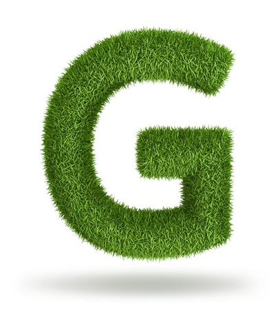 upper case: Natural 3d isolated photo realistic grass letter G