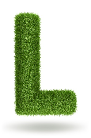 l natural: Natural 3d isolated photo realistic grass letter L Stock Photo