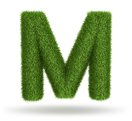 Natural 3d isolated photo realistic grass letter M photo