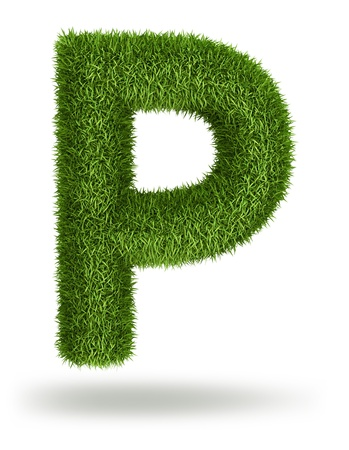 Natural 3d isolated photo realistic grass letter P