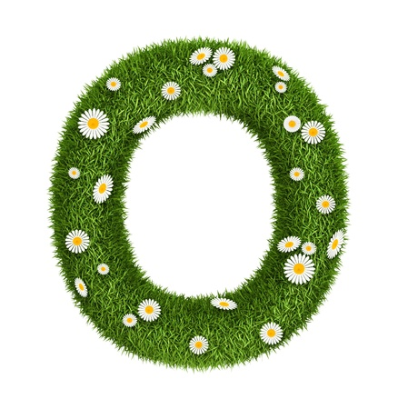 Letter O photo realistic grass font with flower camomile photo