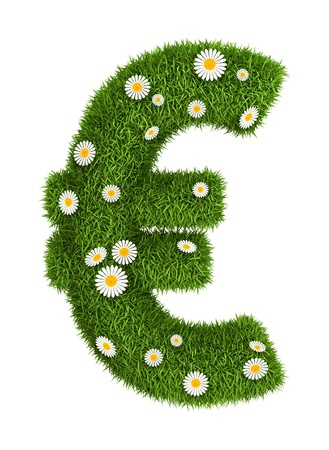 euro sign photo realistic grass font with flower camomile photo