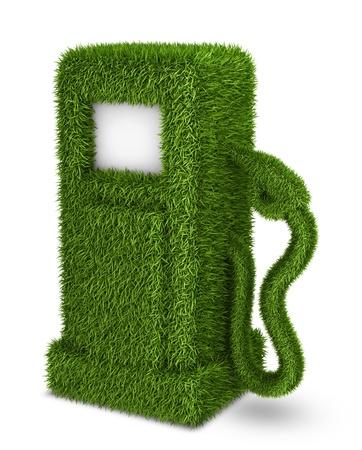 バイオ燃料ガスの駅シンボルを緑の草燃料ポンプ 写真素材