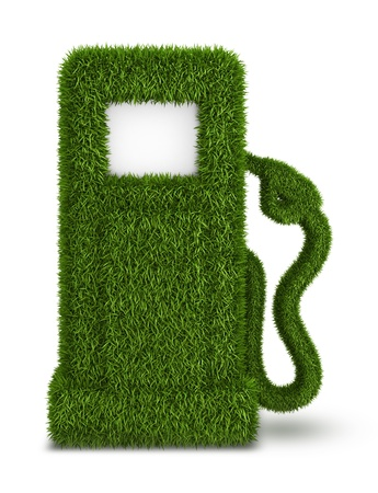 out of gas: Green grass  fuel pump out, bio fuel gas station symbol Stock Photo