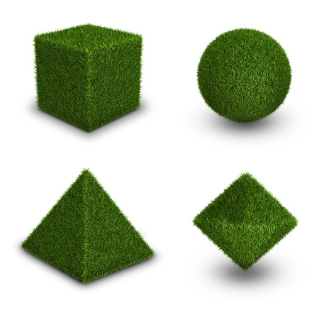 octahedron: Geometrical figures from grass, ecology theme on white