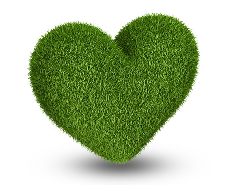 3d shape: Photo realistic grass in heart shape, ecology theme on white Stock Photo