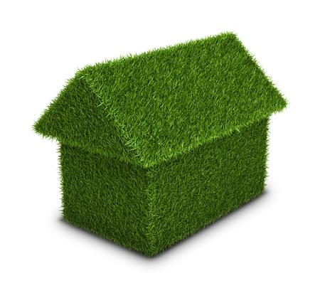 Green house, photo realistic grass home shape, ecology theme photo