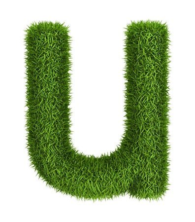 Letter u lowercase photo realistic grass ecology theme on white photo