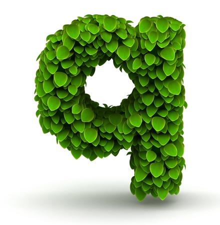 Leaves alphabet font letter q lowercase on white background