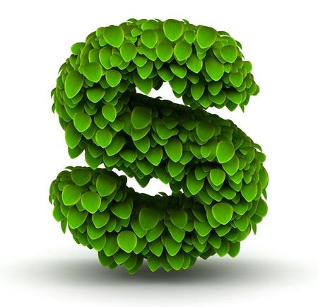 s alphabet: Leaves alphabet font letter s lowercase on white background Stock Photo