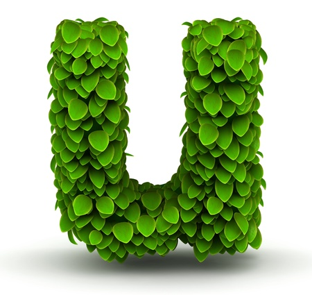 letter u: Leaves alphabet font letter u lowercase on white background
