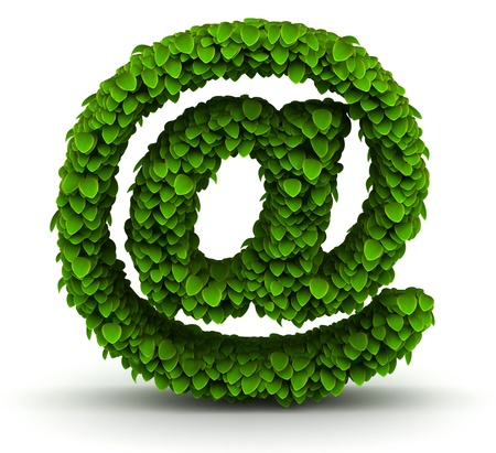 e mail: At e-mail symbol green leaves font ecology theme on white background Stock Photo