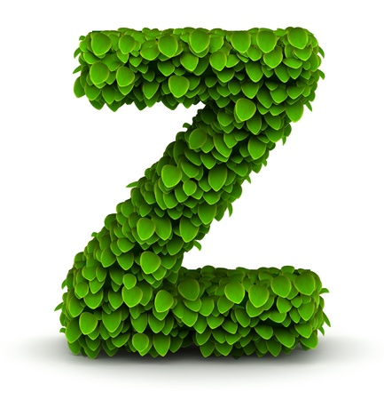 letter z: Leaves alphabet font letter Z on white background