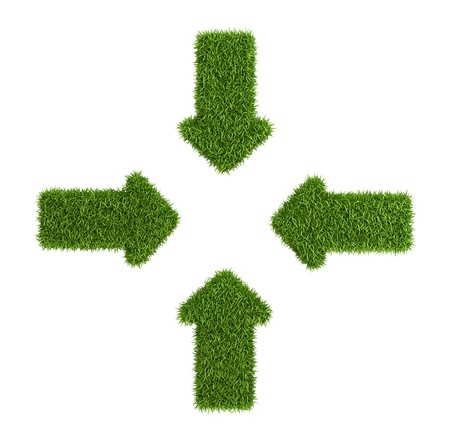 converging: Converging arrows symbol from grass, isolated on white background