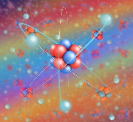 Atom in  lattice  colored background other atoms Stock Photo - 21738910