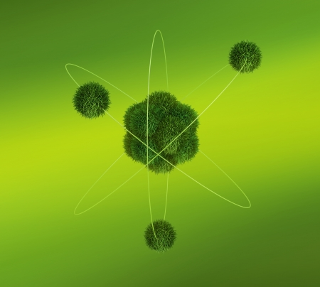 PROTON: Green peaceful atom model conception on green background Stock Photo