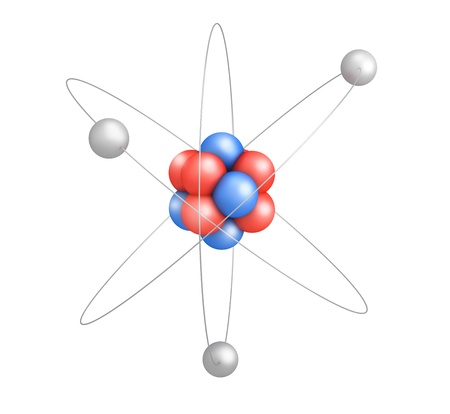 Atom model with red and blue elements on white background Stock Photo - 21738914