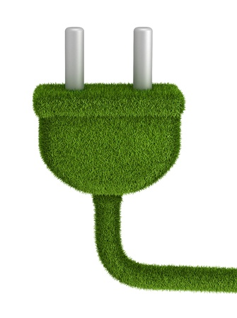 electrical outlet: Electrical plug covered by green grass - renewable energy concept