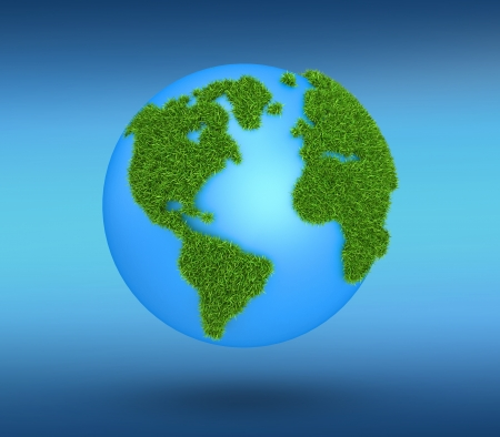 Grass Globe - America, isolated on blue background photo