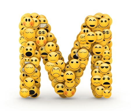 Letter M compiled from Emoticons smiles with different emotions photo