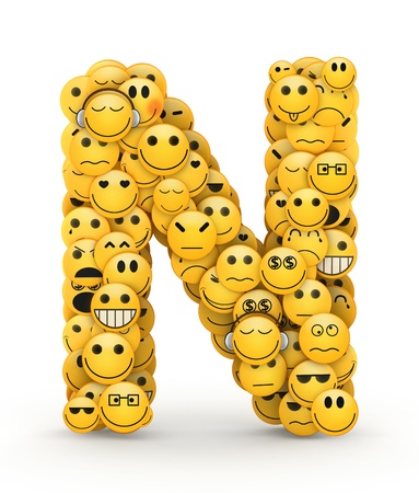compiled: Letter N compiled from Emoticons smiles with different emotions Stock Photo