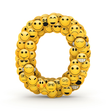 Letter O compiled from Emoticons smiles with different emotions