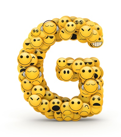 compiled: Letter G compiled from Emoticons smiles with different emotions Stock Photo