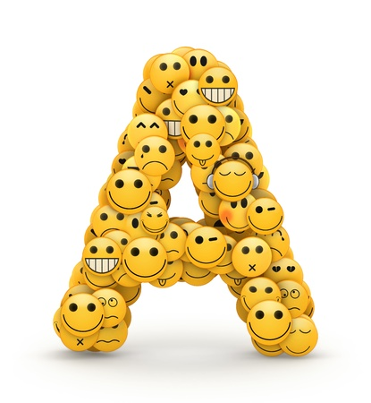 Letter A  compiled from Emoticons smiles with different emotions Imagens - 21764499