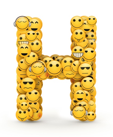 compiled: Letter H compiled from Emoticons smiles with different emotions