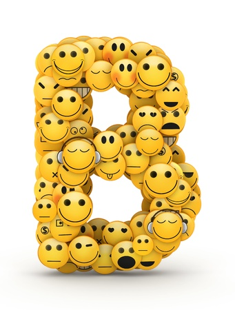 compiled: Letter B compiled from Emoticons smiles with different emotions