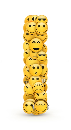 Letter I compiled from Emoticons smiles with different emotions