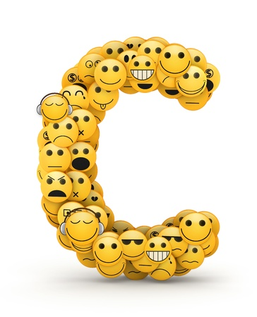 compiled: Letter C compiled from Emoticons smiles with different emotions Stock Photo