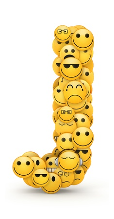 compiled: Letter J compiled from Emoticons smiles with different emotions Stock Photo
