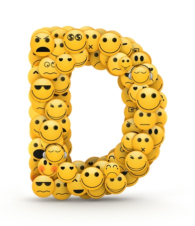 compiled: Letter D compiled from Emoticons smiles with different emotions Stock Photo