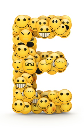 Letter E compiled from Emoticons smiles with different emotions Stock Photo