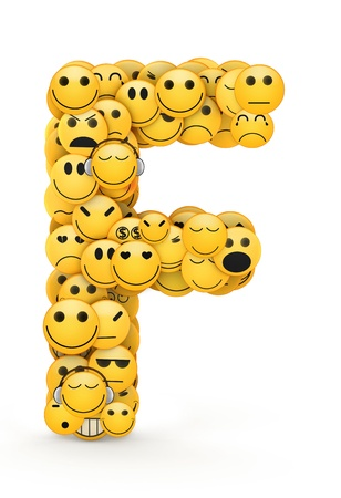 compiled: Letter F compiled from Emoticons smiles with different emotions