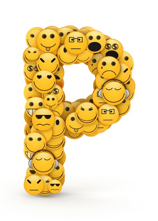 compiled: Letter P compiled from Emoticons smiles with different emotions