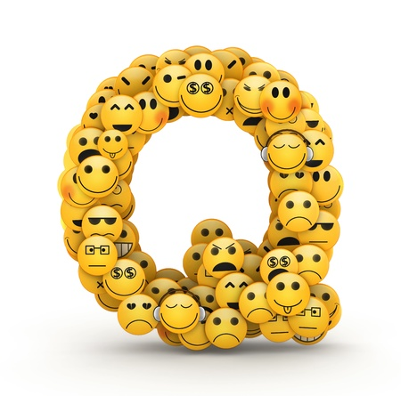compiled: Letter Q compiled from Emoticons smiles with different emotions Stock Photo