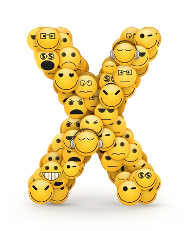 compiled: Letter X  compiled from Emoticons smiles with different emotions