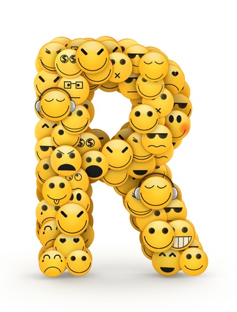 compiled: Letter R compiled from Emoticons smiles with different emotions