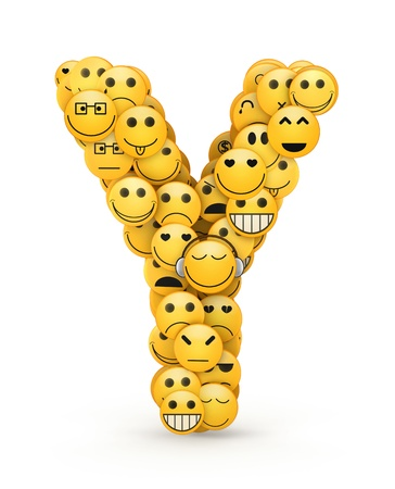 compiled: Letter Y compiled from Emoticons smiles with different emotions Stock Photo