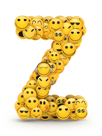 compiled: Letter Z compiled from Emoticons smiles with different emotions