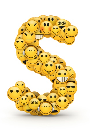 compiled: Letter S compiled from Emoticons smiles with different emotions