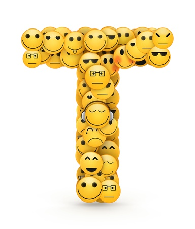 compiled: Letter T compiled from Emoticons smiles with different emotions